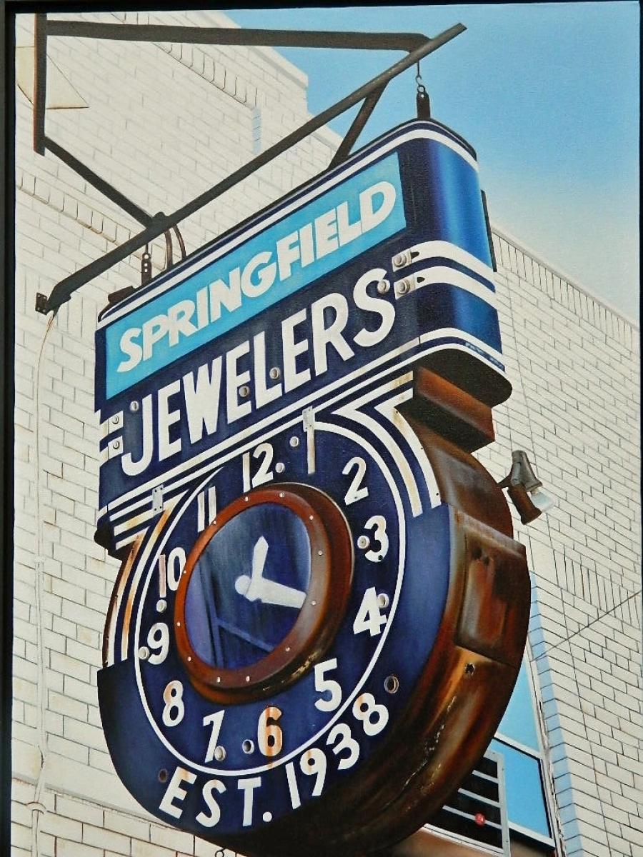Old jeweler sign with an old cloc  in Springfield, NJ depicted in an oil painting by artist Donald B. David. (large view)