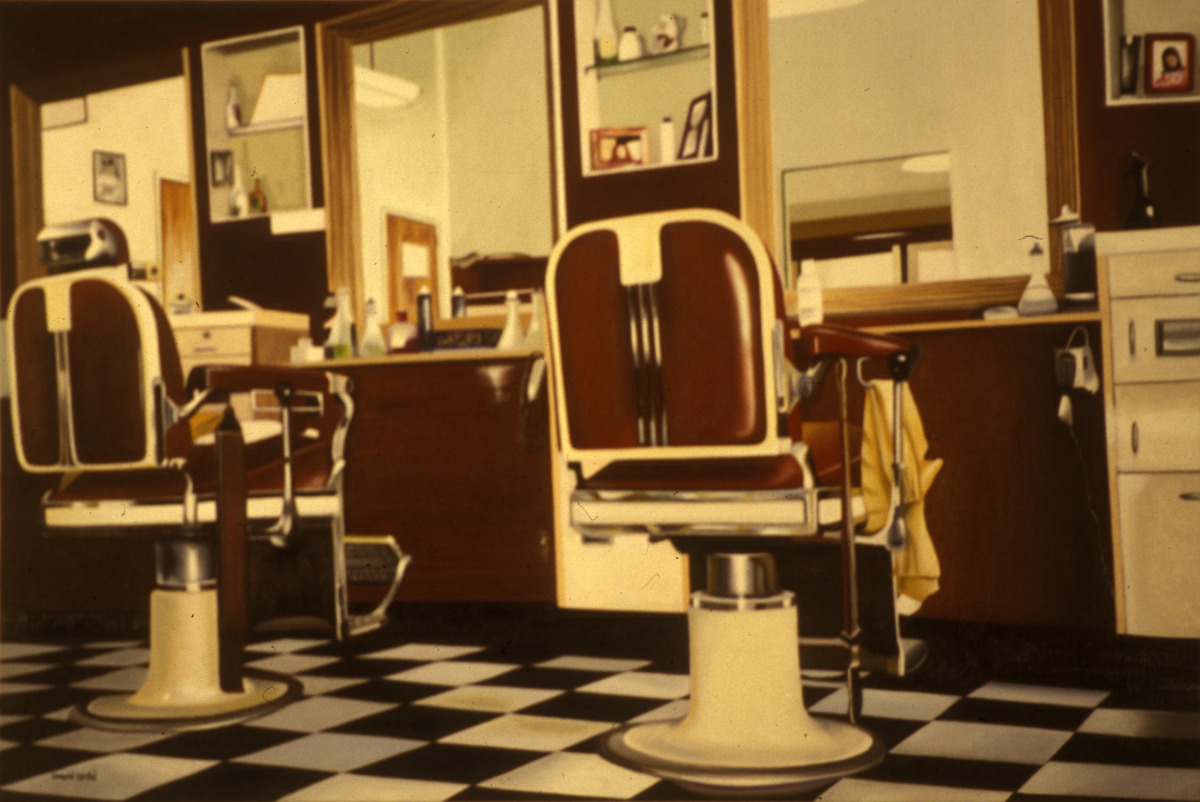 Vincent's Place is an old barber shop in Westfield, New Jersey depicted here in an oil painting by Donald B. David (large view)