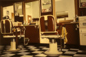Vincent's Place is an old barber shop in Westfield, New Jersey depicted here in an oil painting by Donald B. David (thumbnail)