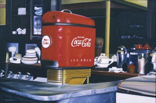 old coca cola machine in a restaurant called Vivian's kitchen (large view)