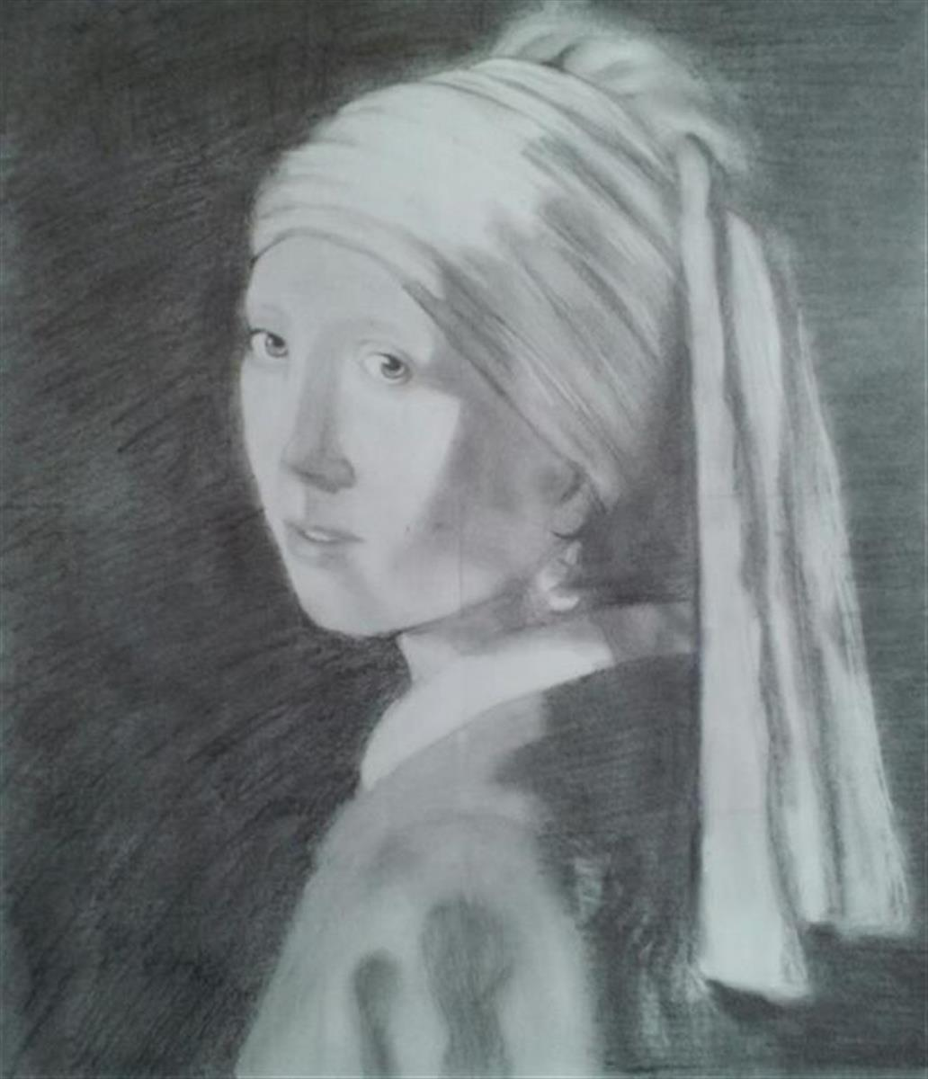 Girl with a Pearl Earring after Vermeer (large view)
