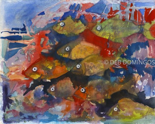 Mardi Gras Fish by DEB DOMINGOS
