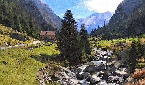Mountain Chalet by the Stream