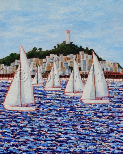 Sailing by Coit Tower by Deborah Graffuis