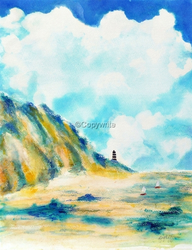 Lighthouse & Two Sailboats