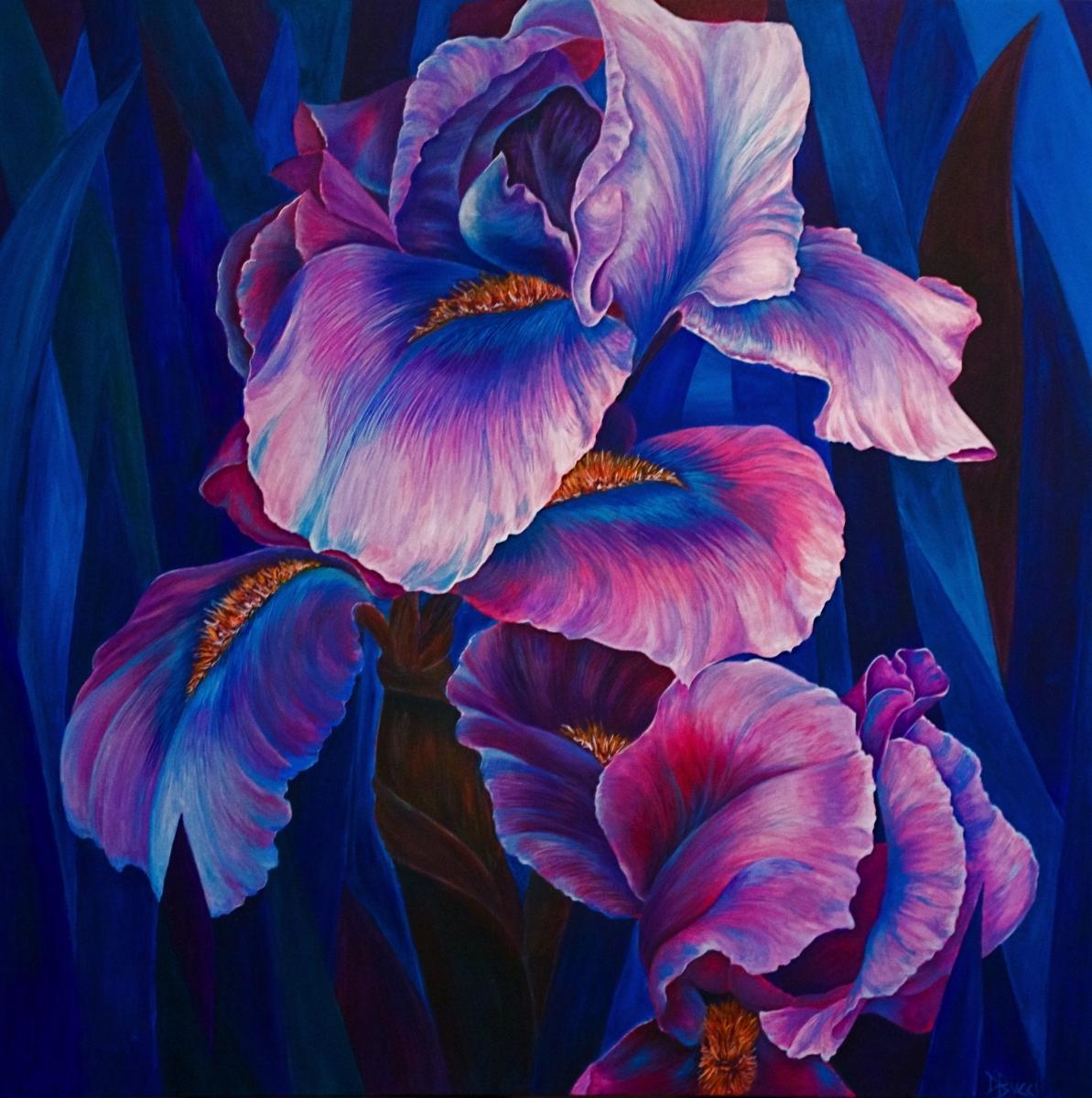 Iris, Iris painting, Iris artwork, blue, purple, pink, floral, flower,  nature, colorful, big painting, big artwork, gorgeous, magnificent, beautiful, debra bucci, debbie bucci,flower, floral, Debra Bucci, original, artwork, DBucci, Debbie, Debra, Bucci,  (large view)