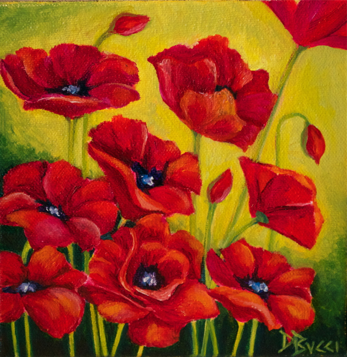 "Debra Bucci Fine Art presents Sun Poppies which is a Pocketbook or miniature oil painting that measures 6"" square. This is red and yellow and has poppies reaching for the sun. It is a feel good painting.