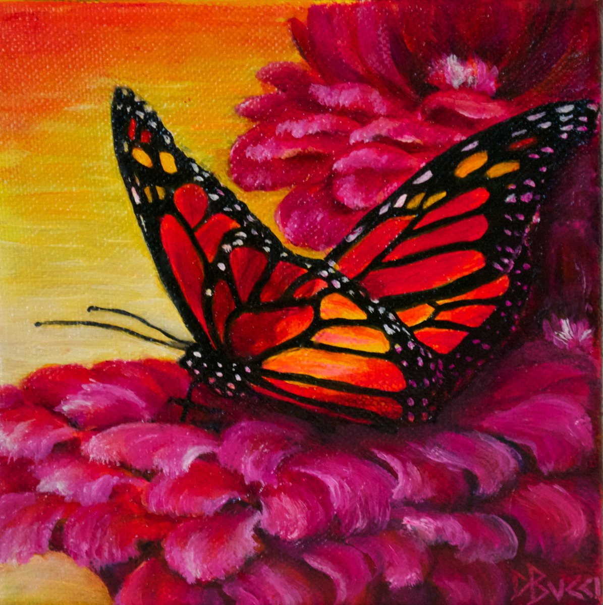 "Debra Bucci Fine Art presents Butterfly on Pink which is a Pocketbook or miniature oil painting that measures 6"" square. This is red, orange and pink. It is a feel good painting (large view)"