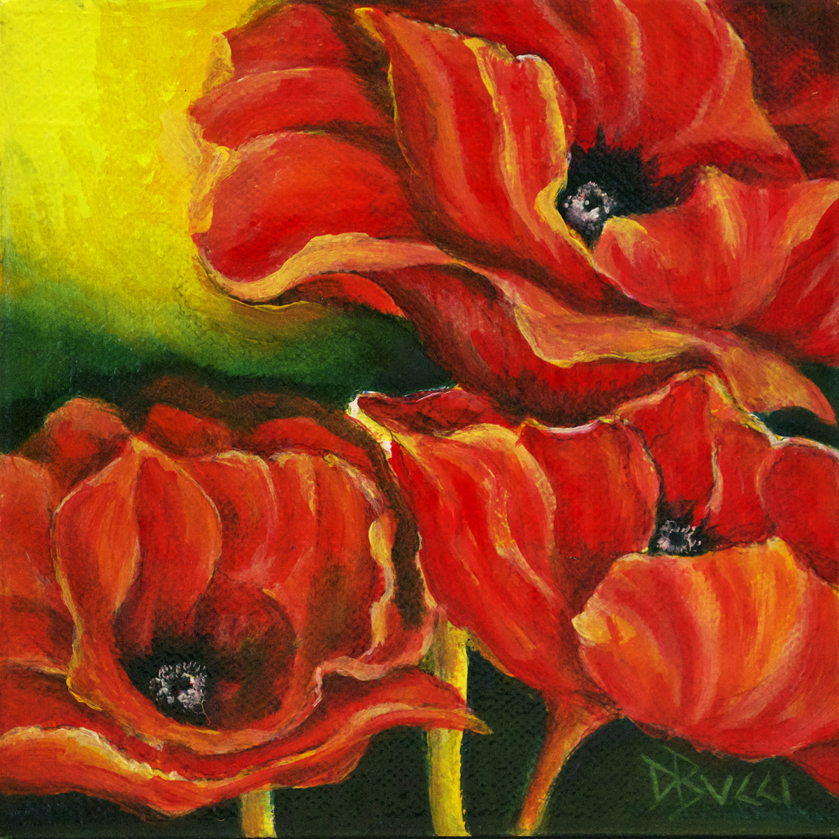 "Poppy Triplets - ""Pocketbook"" Painting (large view)"