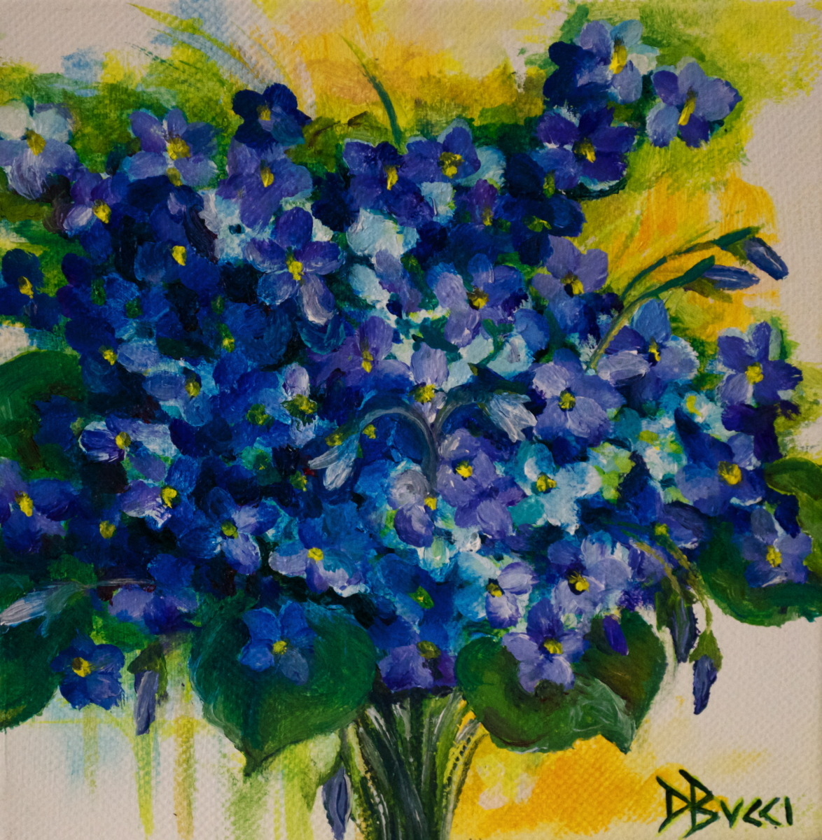 """Debra Bucci Fine Art presents Violet Bouquet which is a Pocketbook or miniature oil painting that measures 6"""" square. This is blue and purple painting that is precious. (large view)"""
