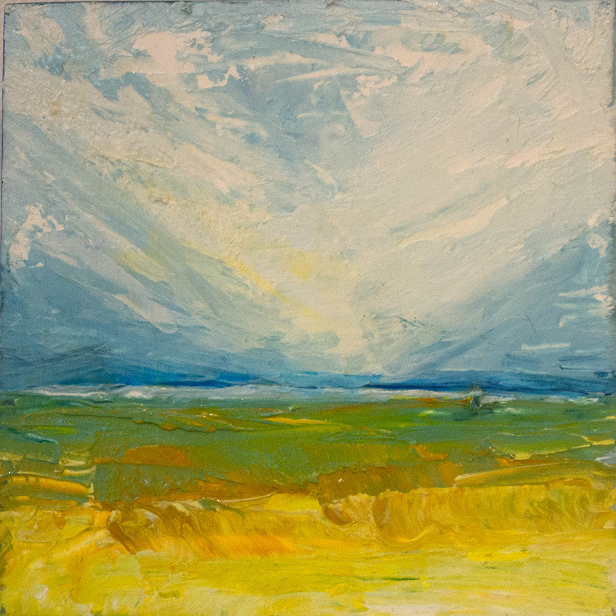 """Yellow Field 4""""x4"""" (large view)"""