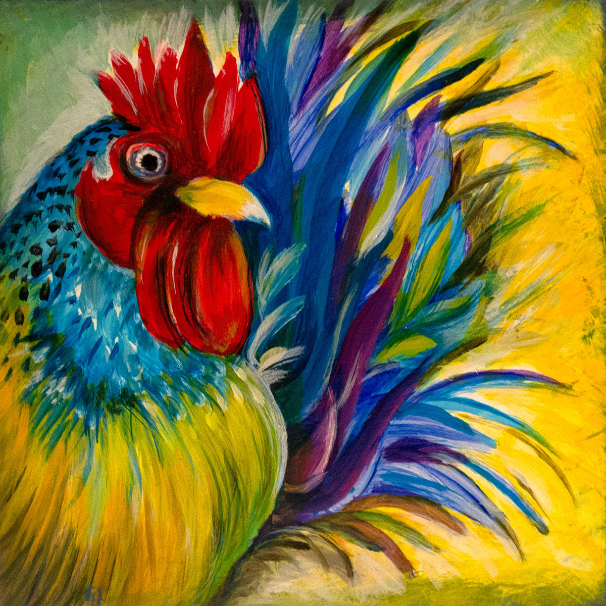"""Rooster 4""""x4"""" (large view)"""