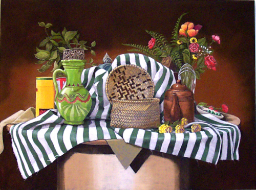 Still Life With Green Stripes