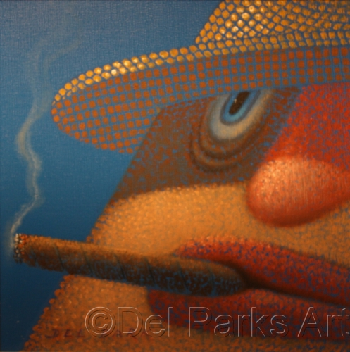 Smoker with Straw Hat