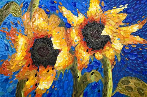 Cobalt Skies Sunflowers