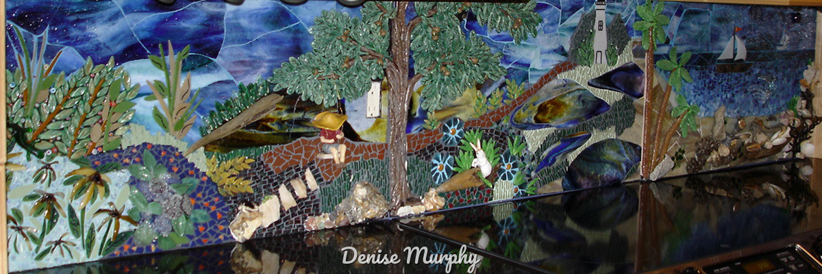 Denise Murphy mosaic kitchen backsplash made with clay glass and found beach items (large view)