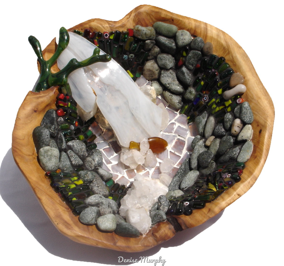 mosaic waterfall scen in wooden bowl sculpture by Denise Murphy (large view)