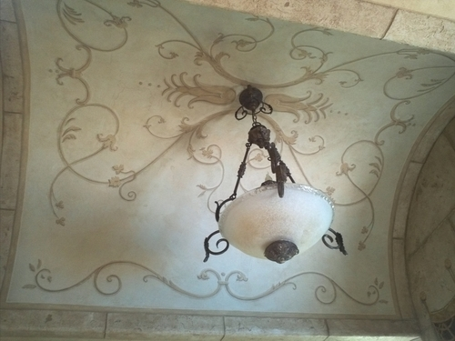 master bath barrel vault ceiling mural
