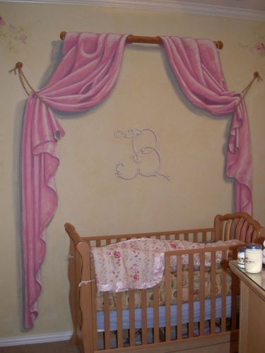 nursery curtain mural