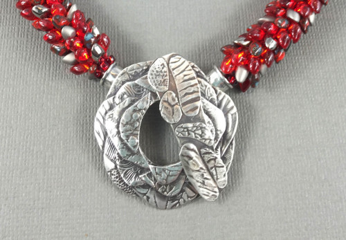 Silver Clasp on Red Dragon Tail