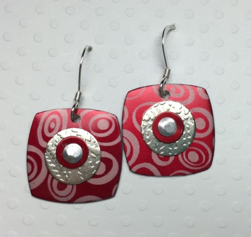 Puffy Square Aluminum and Silver Earrings