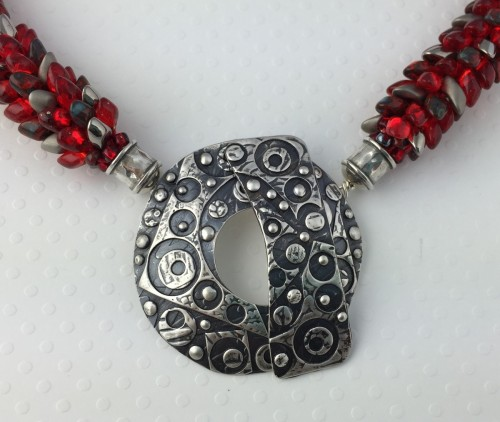 Silver Patchwork Clasp on Red Dragon Tail