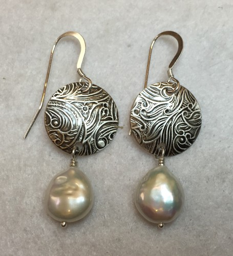 Domed Silver Earrings with Biwa Pearl Drops