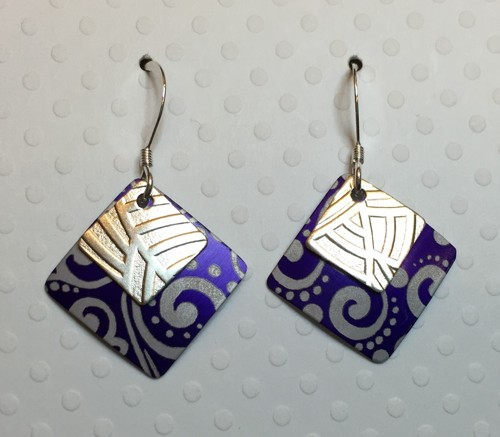 Purple Aluminum and Silver Square Earrings