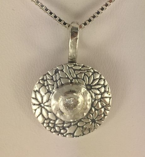 Round Flower Pendant with CZ