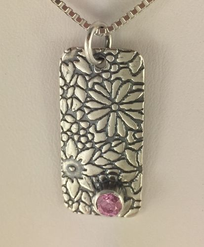 Rectangle Flower Pendant with Pink CZ