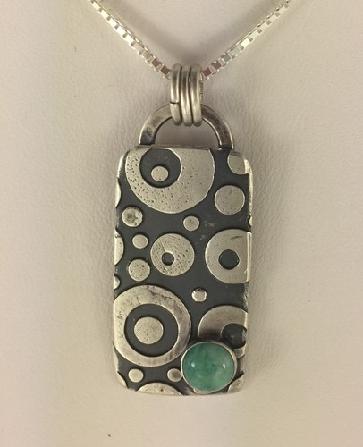 Rectangular Circles Pendant with Amazonite