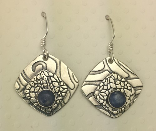 Rounded Square Earrings with Denim Kyanite