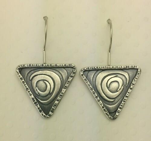 Crazy Swirl Triangle Earrings