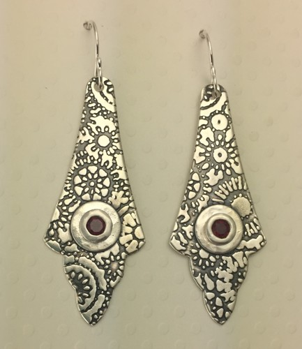 Doily Arabesque Earrings with Ruby CZ