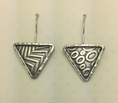 Circles and Zig Zag Triangle Earrings