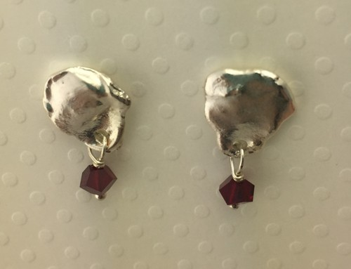Small Puddle Stud Earrings with Red Drops