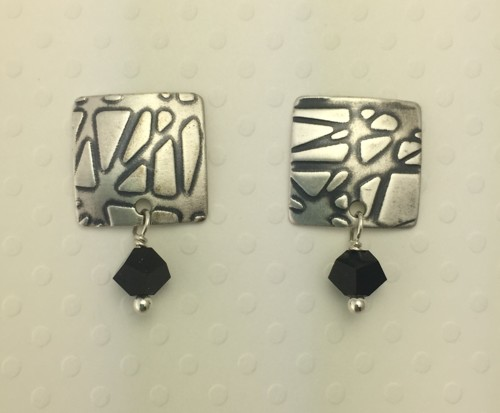 Small Square Earrings with Black Crystal Drops