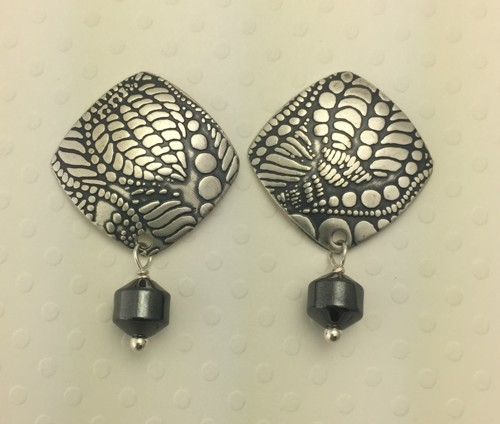 Rounded Square Stud Earrings with Hematite