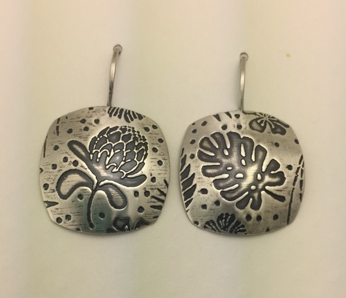 Rounded Square Tropical Earrings
