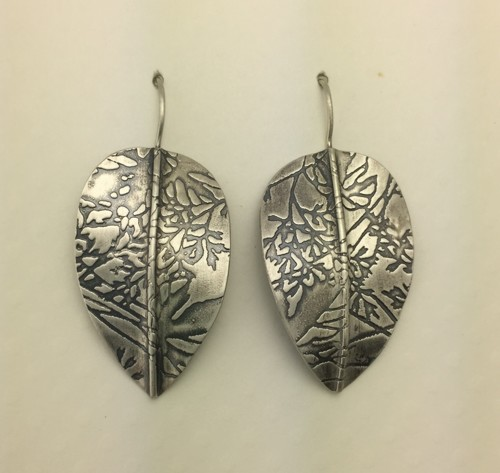 Large Leaf Earrings with Organic Pattern