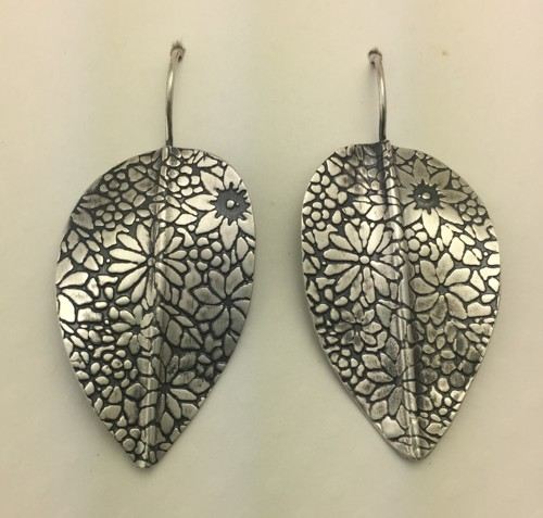 Large Leaf Earrings with Floral Pattern