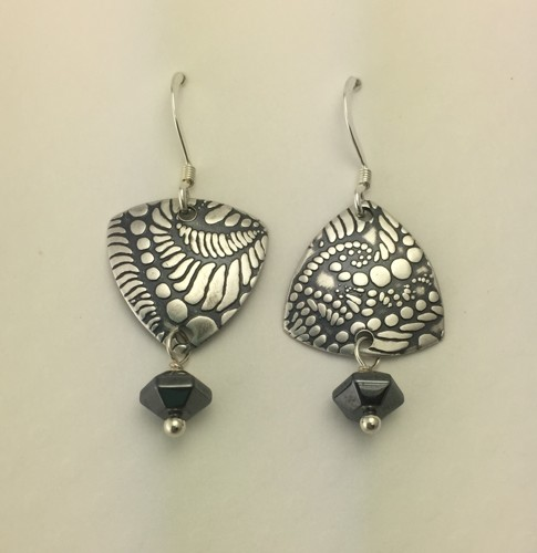 Small Trillion Earrings with Hematite Drops