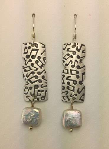Long Muscial Notes Earrings with Pearls