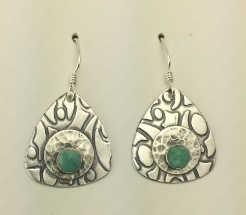 Guitar Pick Shaped Earrighs with Amazonite