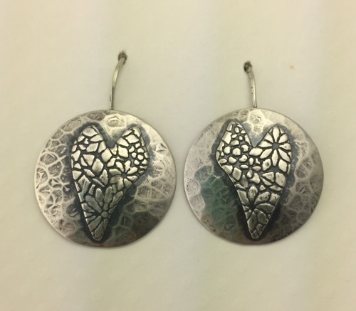 Round Hammered Circles with Flower Hearts