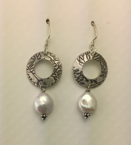 Silver Washers with Pearl Earrings