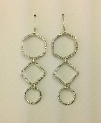 Long Shiny Three Shape Earrings