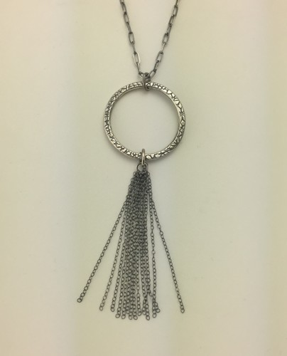 Long Oxidized Circle Necklace with Tassel