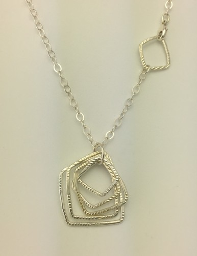 Long Patterned Squares Necklace