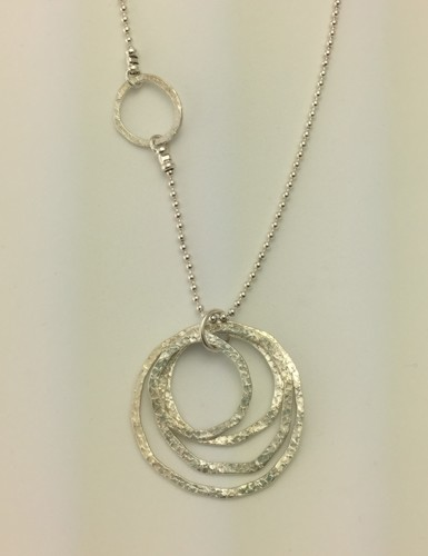 Long Hammered Circles Necklace